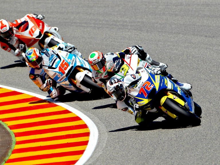 Yuki Takahashi riding ahead of Moto2 group in Mugello