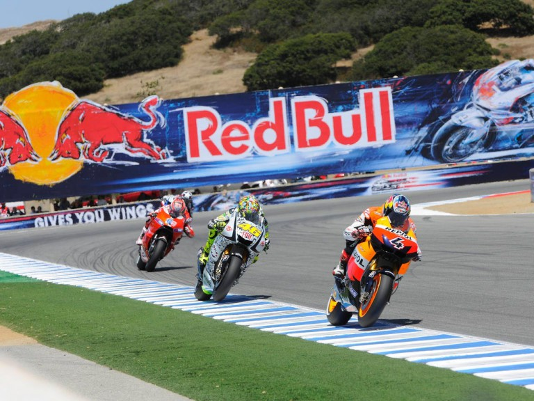 MotoGP group in action in Laguna Seca