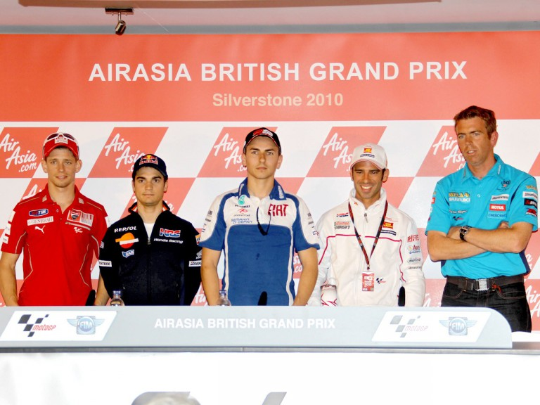 Stoner, Pedrosa, Lorenzo, Melandri and Denning at the AirAsia British GP press conference