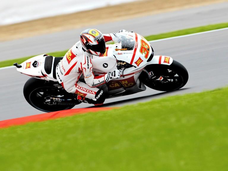 Marco Melandri in action in Silverstone