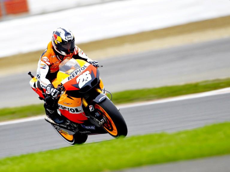 Dani Pedrosa in action in Silverstone