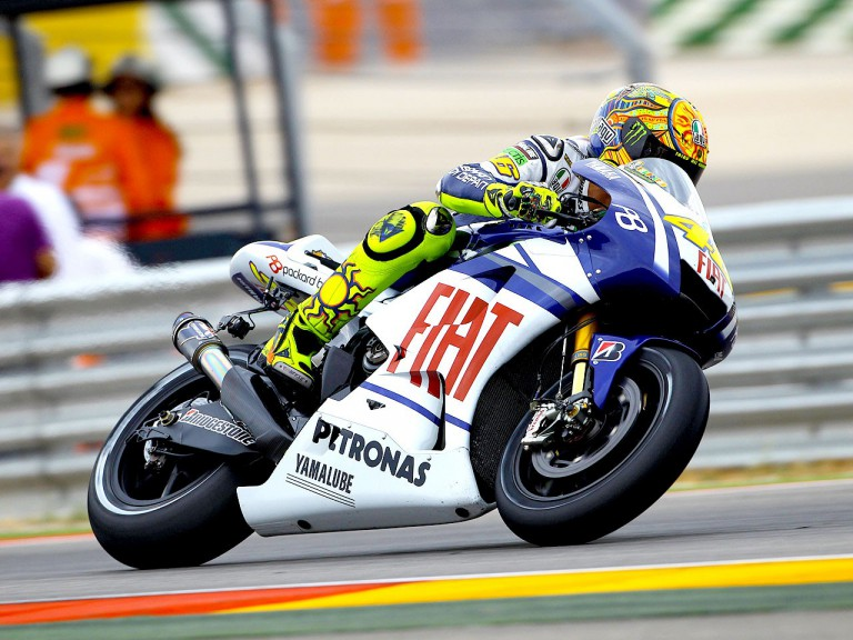 Valentino Rossi in action at Motorland Aragón