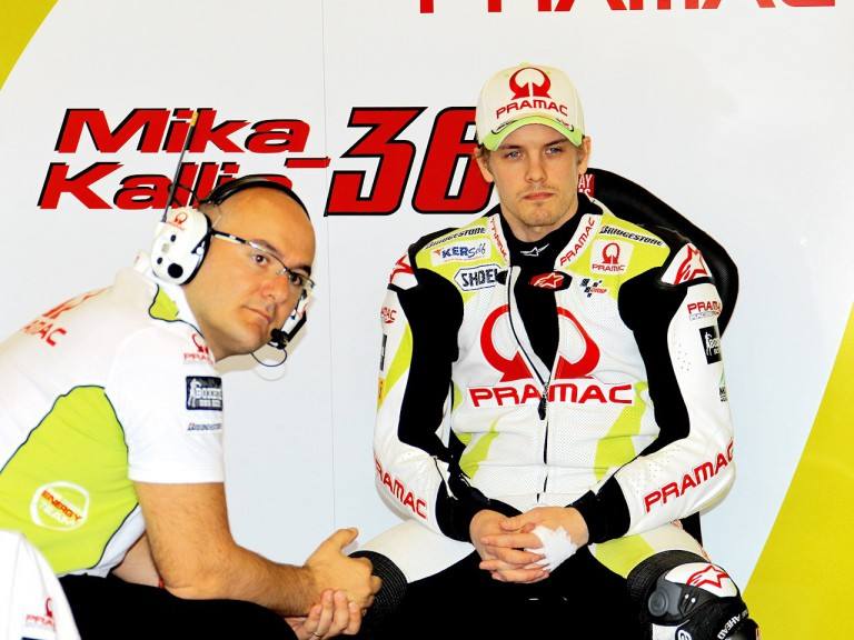 Mika Kallio in the Pramac garage