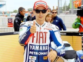 Jorge Lorenzo at the Parc Fermé after the QP in Silverstone