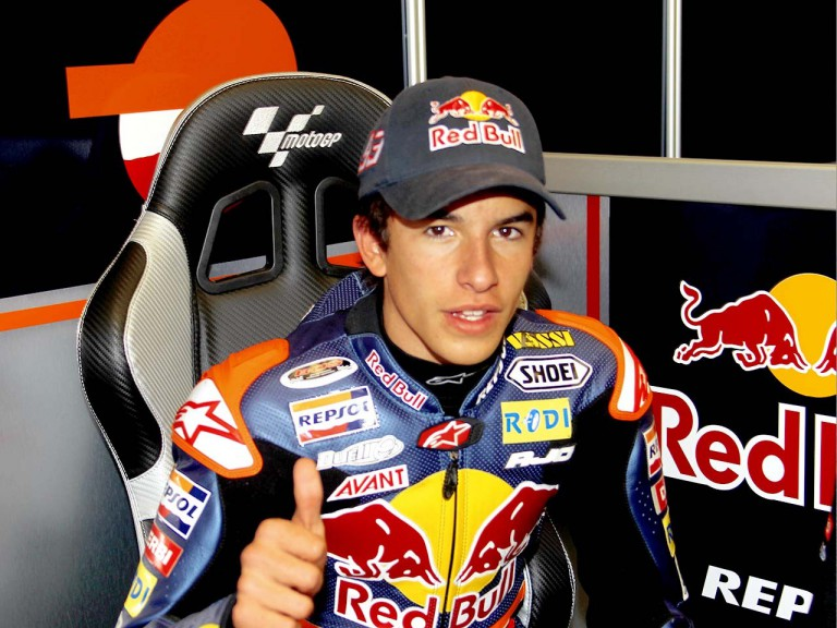 Marc Marquez in the Red Bull Ajo Motosport garage