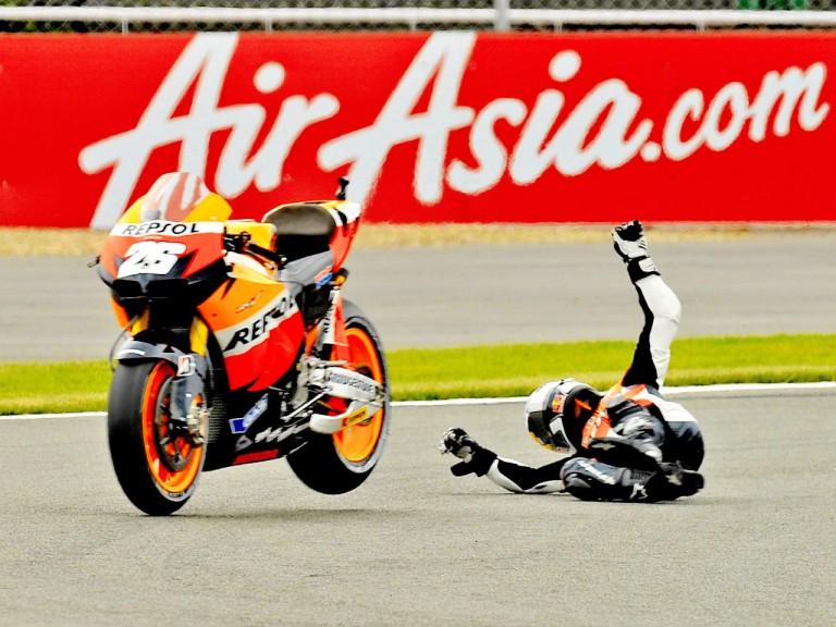 Dani Pedrosa´s crash during the QP at Silverstone