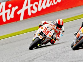 Marco Simoncelli in action at Silverstone