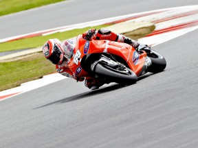 Nicky Hayden in action at Silverstone