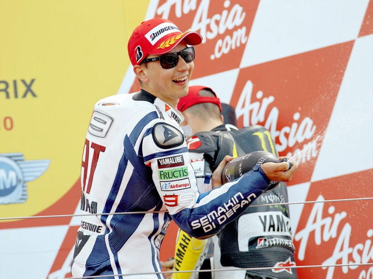 Jorge Lorenzo on the podium at Silverstone