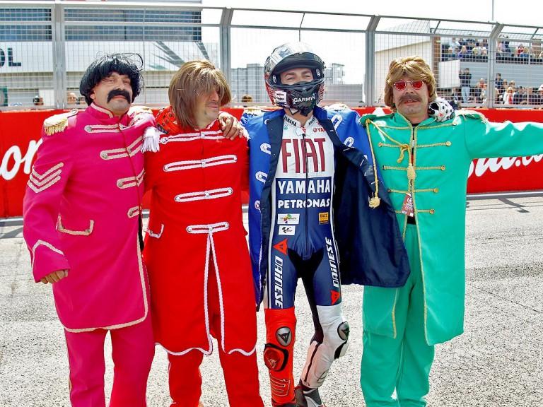 Jorge Lorenzo celebrates GP win at Silverstone