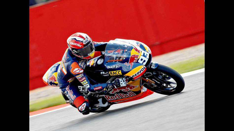 Marc Marquez ina ction at Silverstone