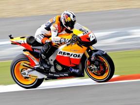 Dani Pedrosa on track at Silverstone