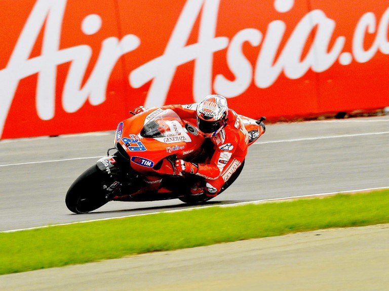 Casey Stoner in action at Silverstone