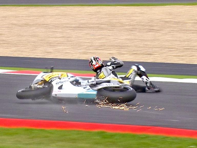 Hiroshi Aoyama crashes during Warm Up at Silverstone