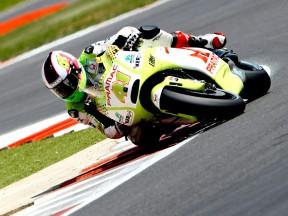 Aleix Espargaró in action at Silverstone