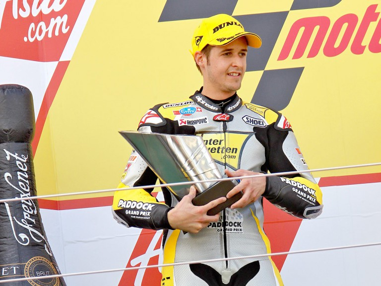 Thomas Luthi on the podium at Silverstone