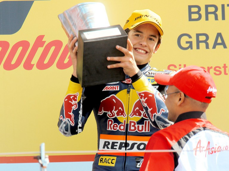 Marc Marquez on the podium at Silverstone
