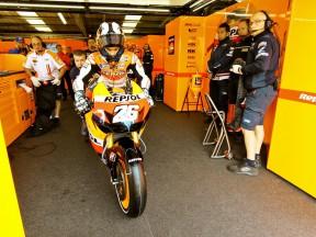 Dani Pedrosa leaving Repsol Honda garage