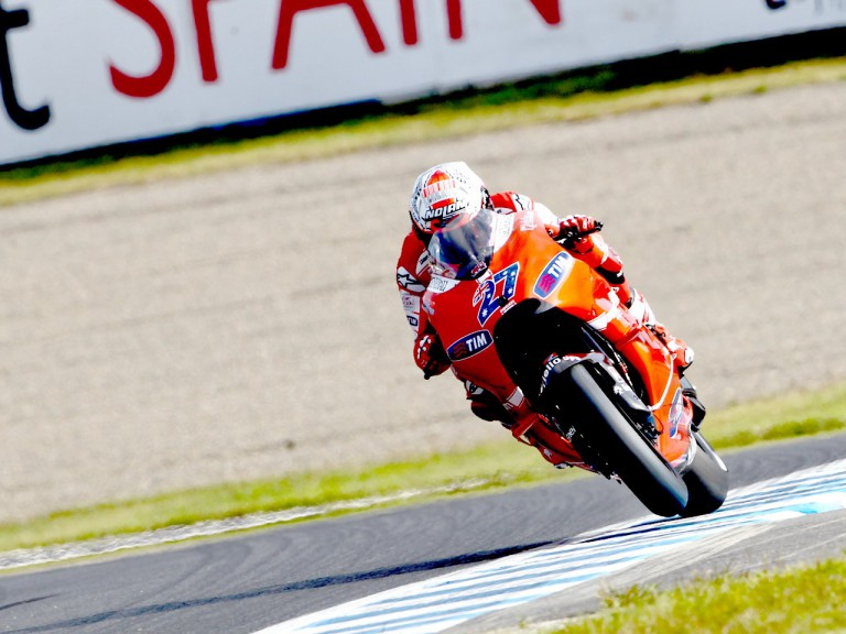 Casey Stoner in action at Motegi