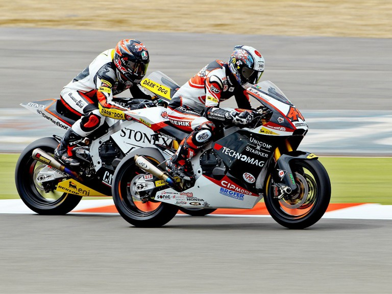 Tomizawa and Corti in action at Silverstone