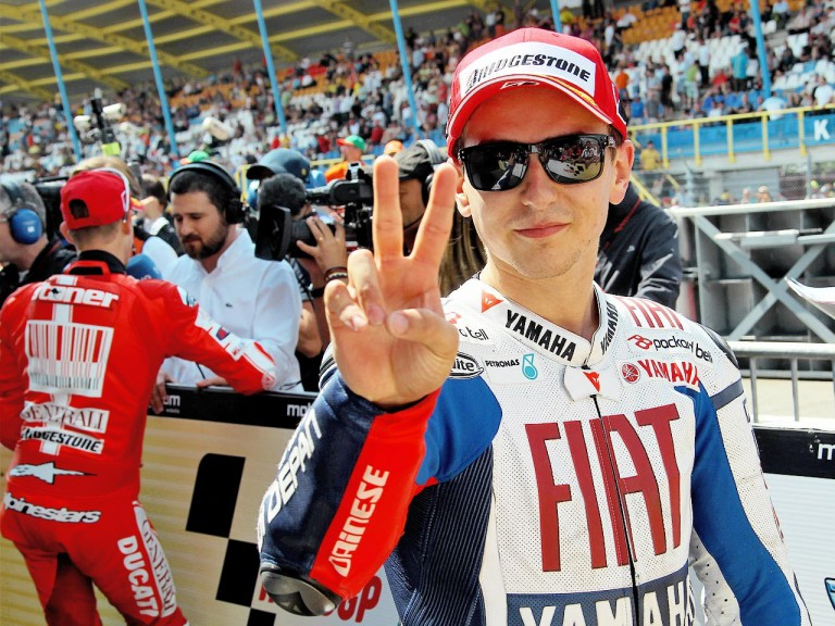 Jorge Lorenzo at the Parc Fermé after the QP in Assen