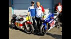 Jorge Lorenzo and Giacomo Agostini with their Yamaha bikes