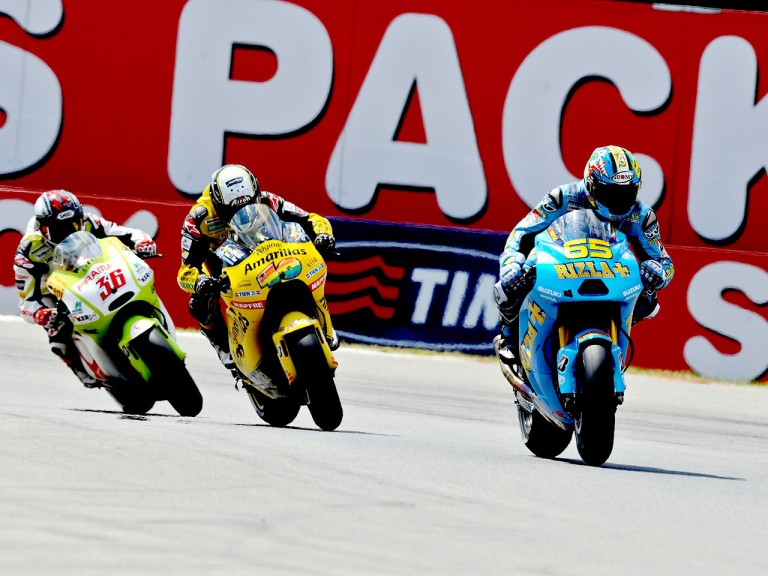 Capirossi riding ahead of Barberá and Kallio in Assen