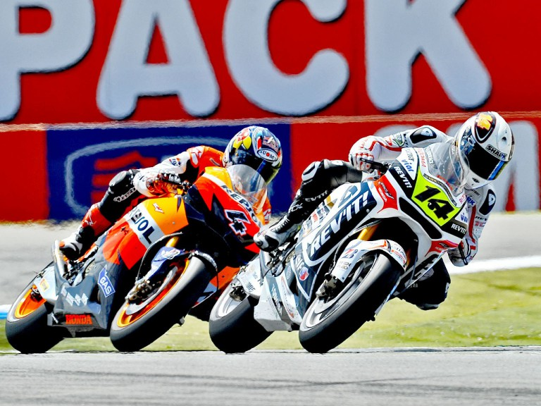 Randy de Puniet riding ahead of Dovizioso in Assen