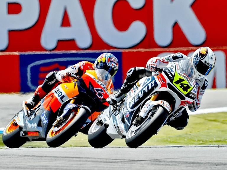 Randy de Puniet riding ahead of Dovizioso in Assen