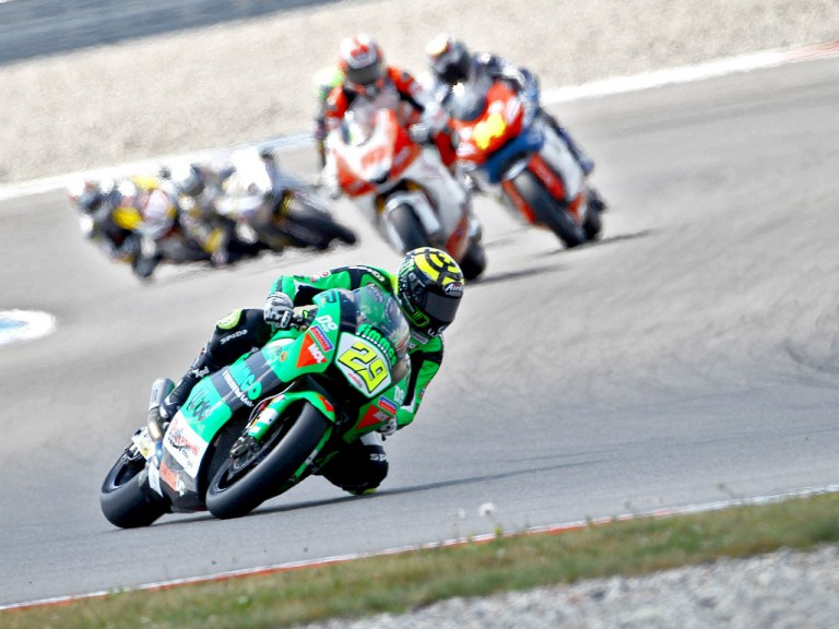 Andrea Iannone riding ahead of Moto2 group in Assen