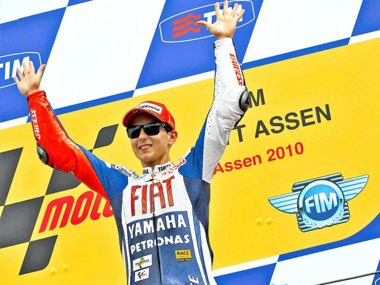 Jorge Lorenzo on the podium in Assen