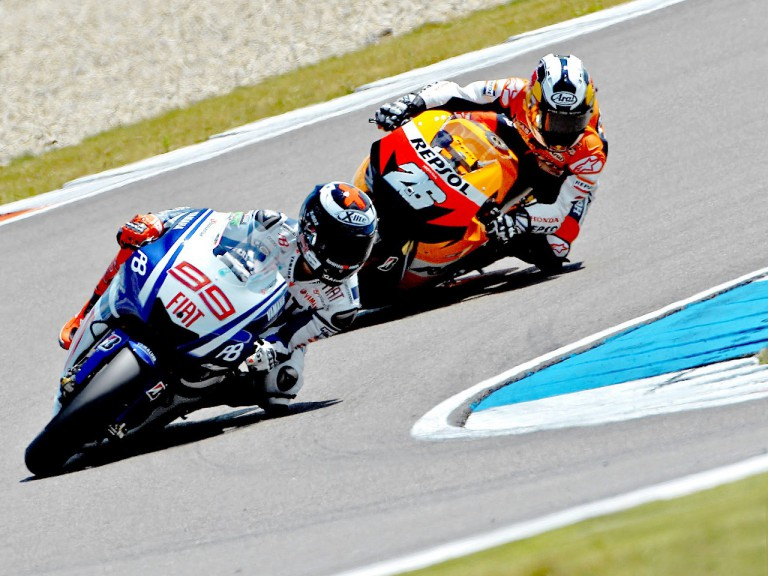 Lorenzo riding ahead of Pedrosa during the race in Assen