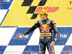 Marc Marquez on the podium in Assen