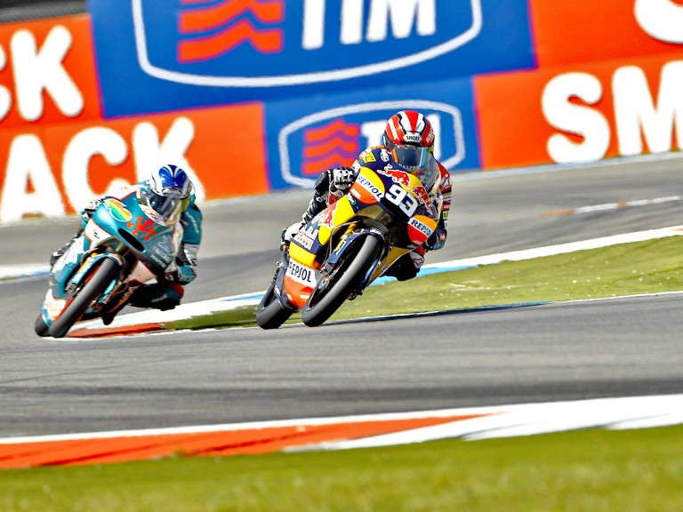 Marquez riding ahead of Terol during the race at Assen