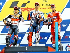 Pedrosa, Lorenzo and Stoner in the podium in Assen
