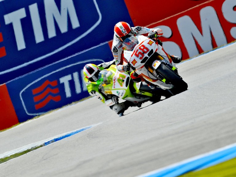 Simoncelli riding ahead of Espargaró in Assen