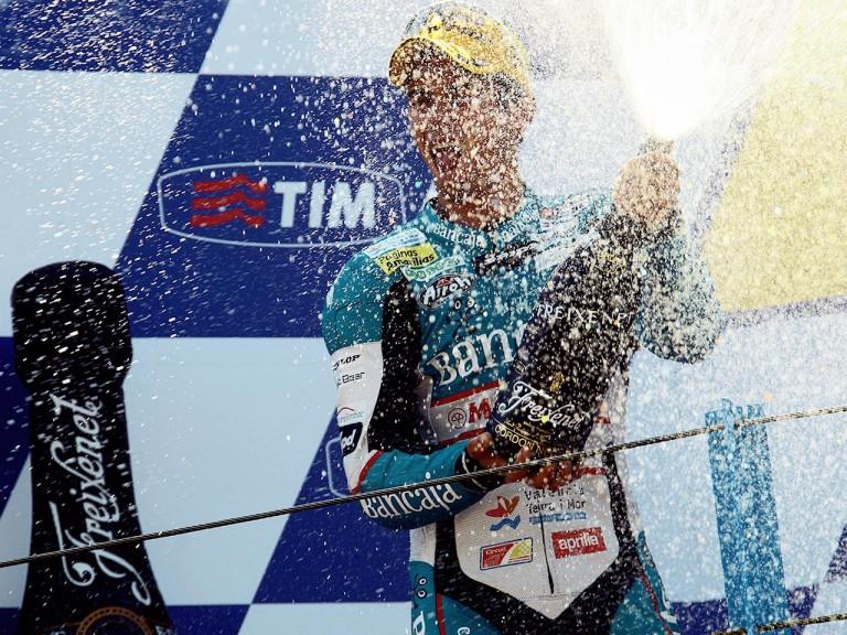 Nico Terol on the podium in Assen