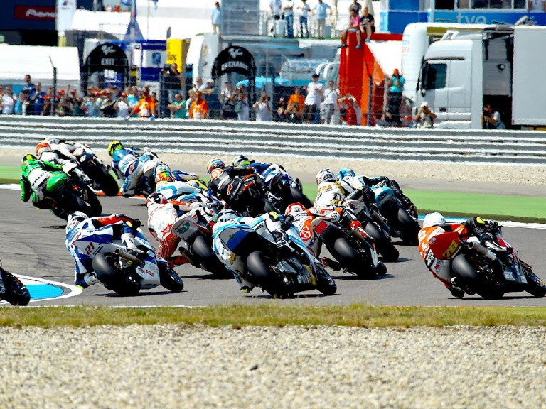 Moto2 group in action in Assen