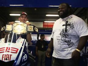 WWE figure Mark Henry encounters MotoGP stars