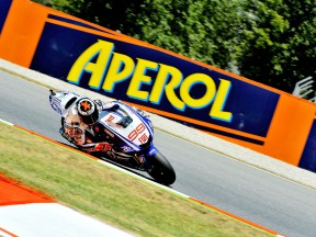 Jorge Lorenzo in action at the Catalunya Circuit
