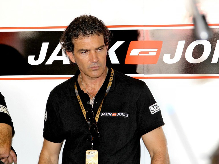 Antonio Banderas in the Jack & Jones garage at Catalunya