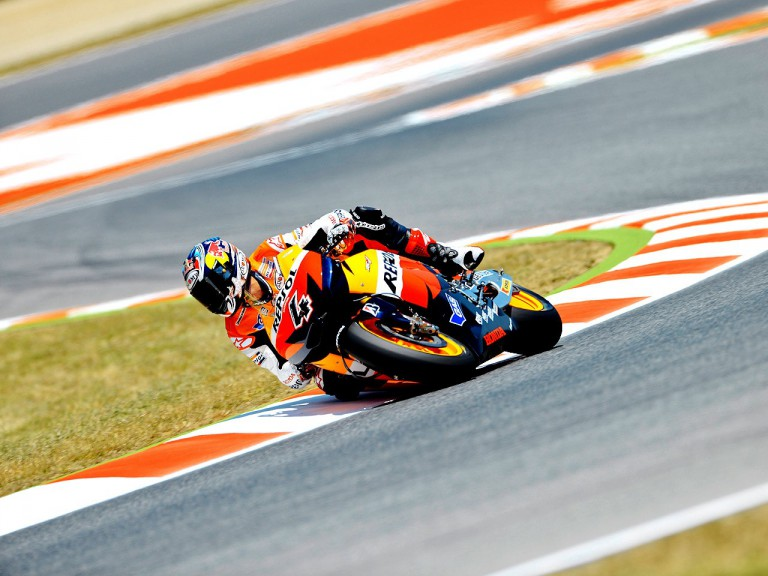 Andrea Dovizioso in action at the Catalunya Circuit