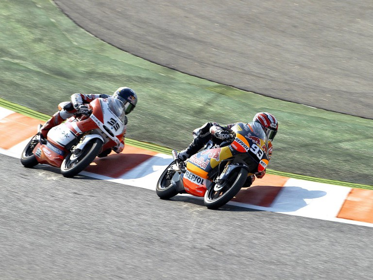 Marquez riding ahead of Krummenacher at the Catalunya Circuit
