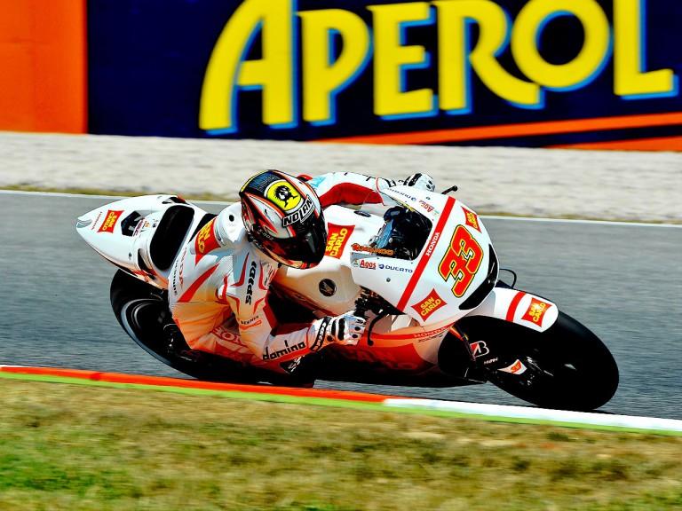 Marco Melandri in action at the Catalunya Circuit