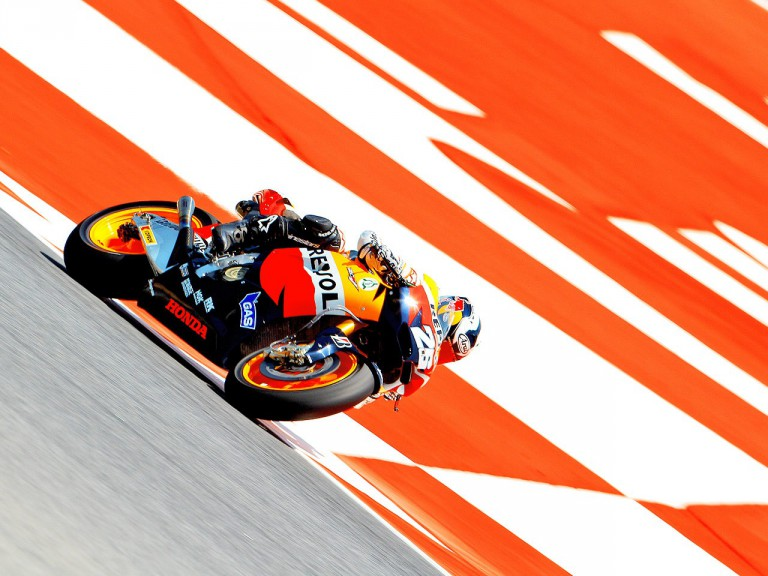 Dani Pedrosa on track at the Catalunya Circuit