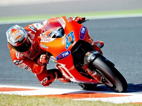 Casey Stoner in action at the Catalunya Circuit