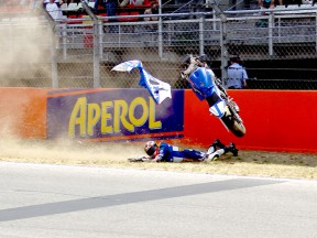 Carmelo Morales crashes during the race at the Ctalunya Circuit