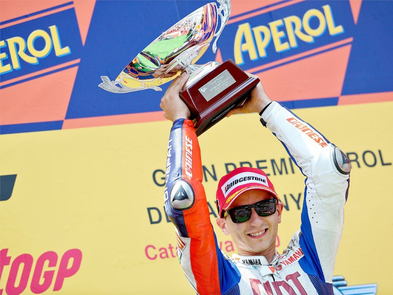 Jorge Lorenzo on the podium at the Catalunya Circuit