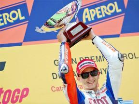 Jorge Lorenzo on the podium at the Catalunya Circuit