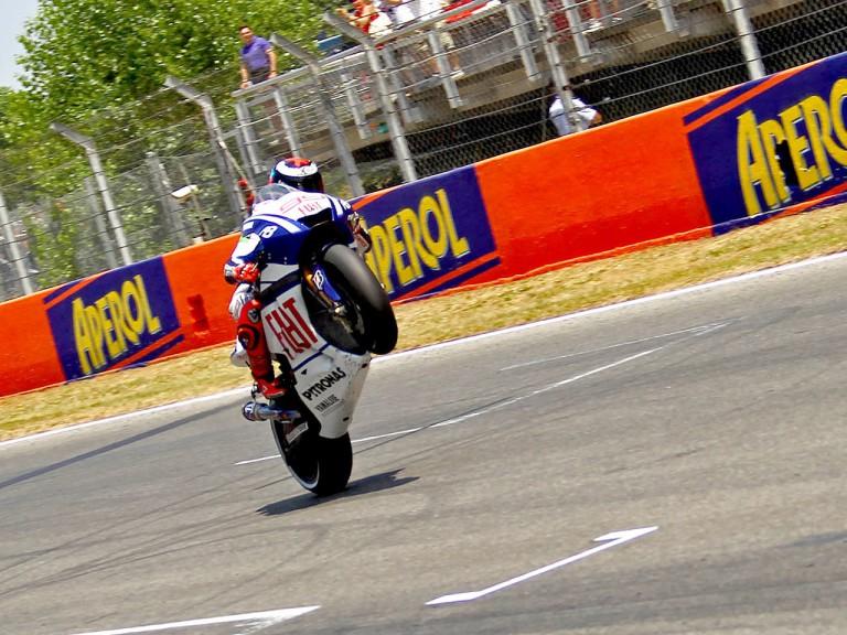 Jorge Lorenzo at the finish of the Gran Premi Aperol de Catalunya